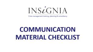 Communication Material Checklist