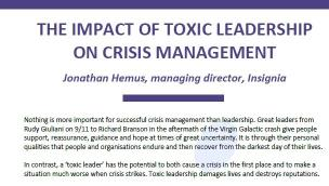The Impact of 'Toxic Leadership' on Crisis Management